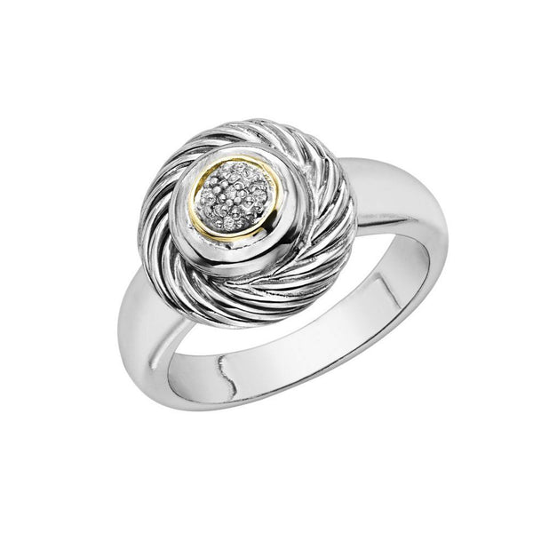 18k Gold And Sterling Silver Diamond 0.03ctw Ring