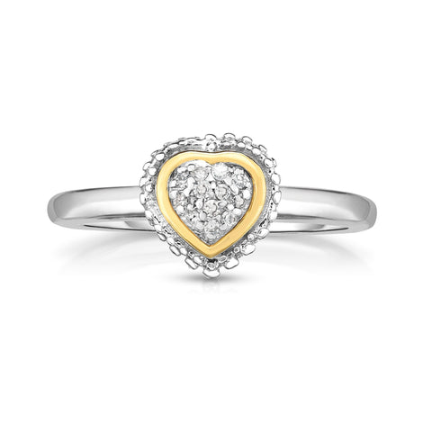 18k Gold And Sterling Silver Diamond 0.06ctw Fancy Heart Ring