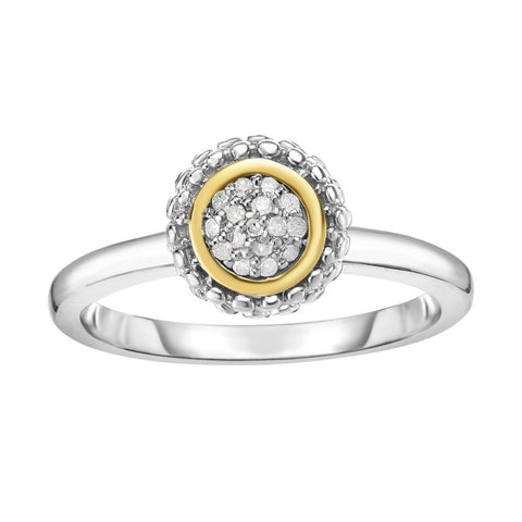 18k Gold And Sterling Silver Diamond 0.08ctw Fancy Ring