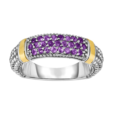 18k Gold And Sterling Silver Amethyst Bar Ring