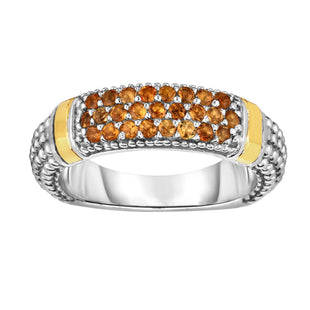 18k Gold And Sterling Silver Citrine Bar Ring