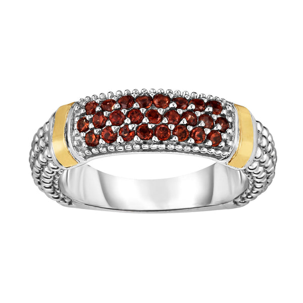 18k Gold And Sterling Silver Red Garnet Bar Ring
