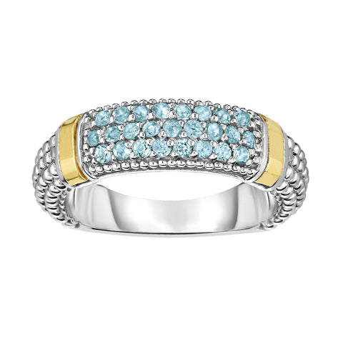 18k Gold And Sterling Silver Blue Topaz Bar Ring