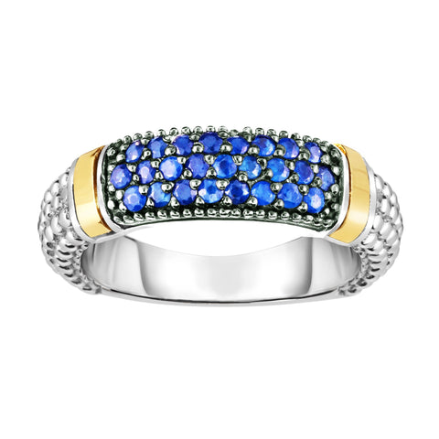 18k Gold And Sterling Silver Blue Sapphire Bar Ring