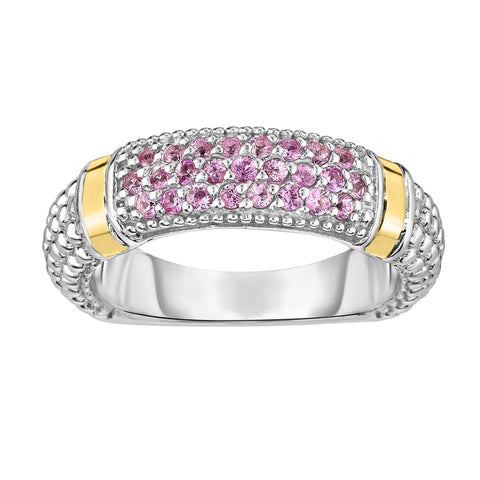 18k Gold And Sterling Silver Pink Sapphire Bar Ring