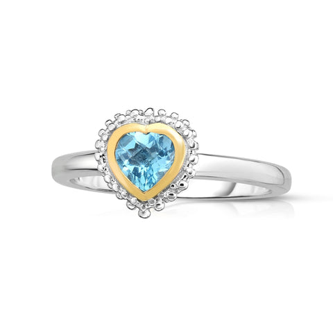 18k Gold And Sterling Silver Blue Heart Topaz Fancy Ring