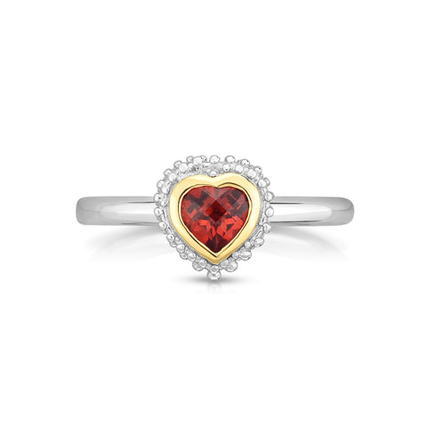 18k Gold And Sterling Silver Red Garnet Heart Fancy Ring