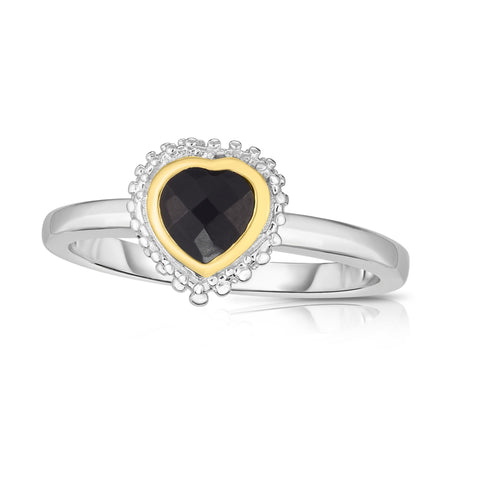 18k Gold And Sterling Silver Black Heart Onyx Fancy Ring