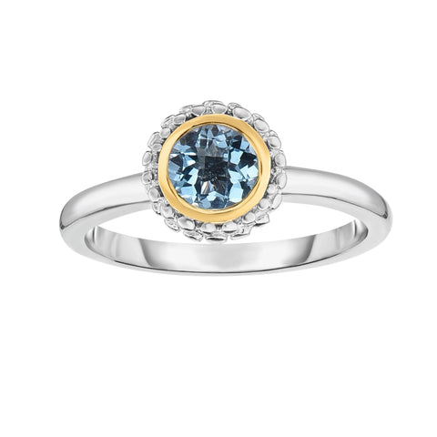 18k Gold And Sterling Silver Blue Topaz Fancy Ring