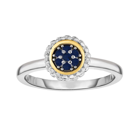 18k Gold And Sterling Silver Sapphire Fancy Ring