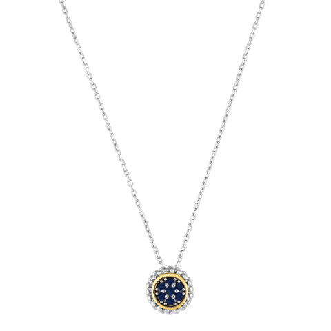 18k Gold And Sterling Silver Sapphire Fancy Necklace