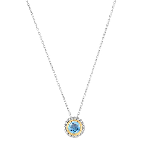 18k Gold And Sterling Silver Blue Topaz Fancy Necklace