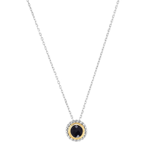 18k Gold And Sterling Silver Black Onyx Fancy Necklace, 18""