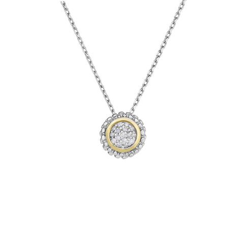 18k Gold And Sterling Silver Diamond 0.08ctw Fancy Necklace
