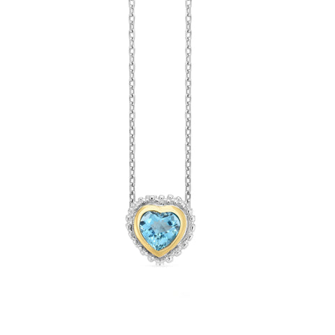 18k Gold And Sterling Silver Blue Heart Topaz Fancy Necklace, 18""