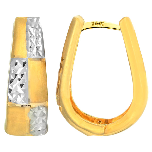 14K Yellow White Gold Diamond Cut Two Tone Snuggable Earrings