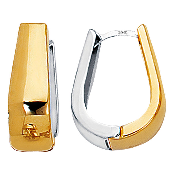 14k 2 Tone Gold Snuggable Huggie Reversible Earrings