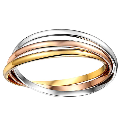 14k Tricolor Gold Interlocking Women's Bangle Bracelet, 7.5""
