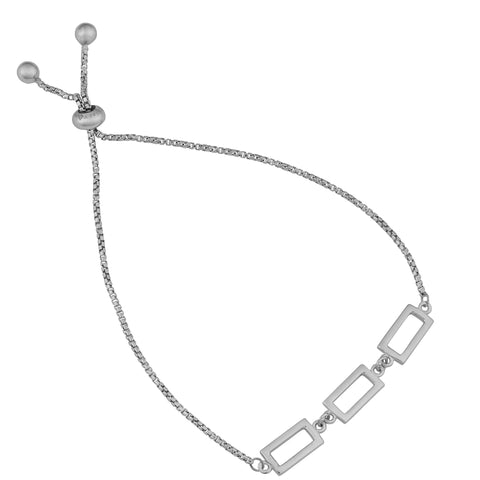 Sterling Silver Rectangle Charms Adjustable Bracelet, 8.5