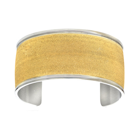 Yellow Glitter Bracelet Cuff In Stainless Steel - JewelryAffairs  - 1