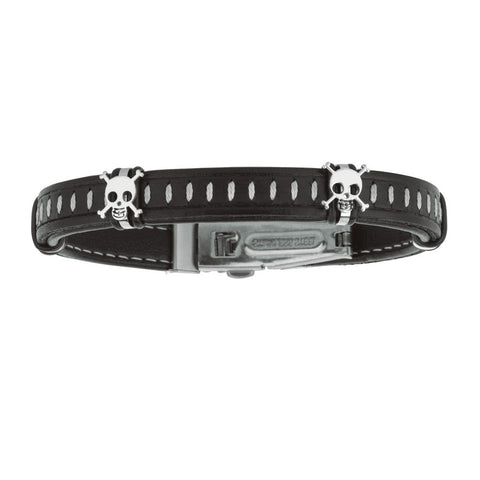 Mens Dark Leather Bracelet With Stainless Steel Skulls And Deployment Clasp, 8.5""