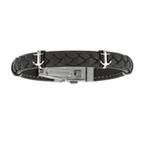 Mens Breaded Dark Leather Bracelet With Stainless Steel Ancors And Deployment Clasp, 8.5""