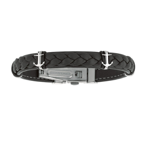 "Mens Breaded Dark Leather Bracelet With Stainless Steel Ancors And Deployment Clasp, 8.5"" - JewelryAffairs  - 1"