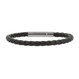 "Mens Breaded Black Leather Bracelet With Stainless Steel, 7.5"" - JewelryAffairs  - 1"