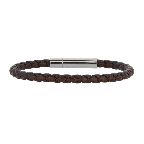 Mens Breaded Brown Leather Bracelet With Stainless Steel, 7.5""