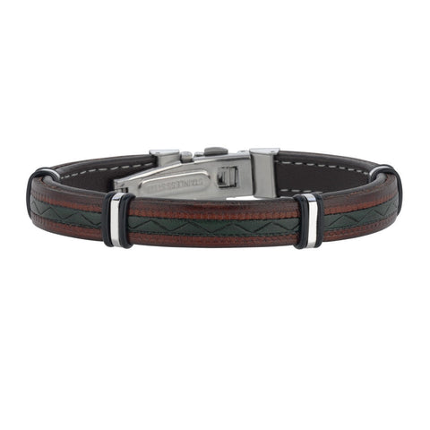 "Mens Multi Color Leather Bracelet With Stainless Steel And Deployment Clasp, 8.5"" - JewelryAffairs  - 1"