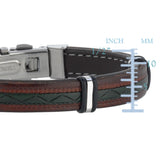 Mens Multi Color Leather Bracelet With Stainless Steel And Deployment Clasp, 8.5""
