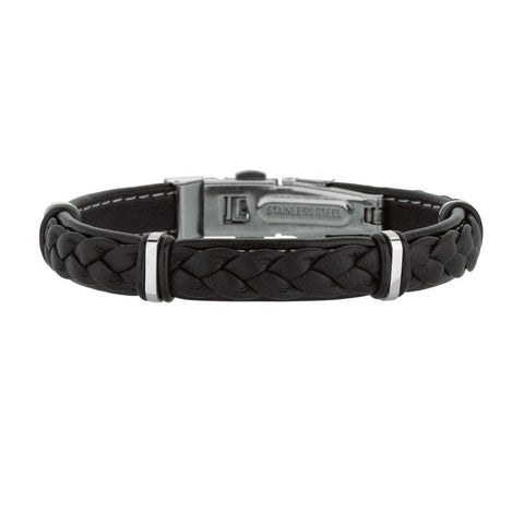 Mens Breaded Dark Leather Bracelet With Stainless Steel And Deployment Clasp, 8.5""