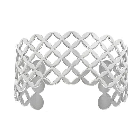 Geometric Shapes Inspired Design Stainless Steel Bracelet Cuff - JewelryAffairs  - 1