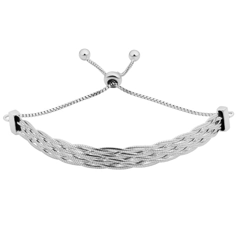 Rhodium Plated Sterling Silver Braided Herringbone Bolo Bracelet, 9""