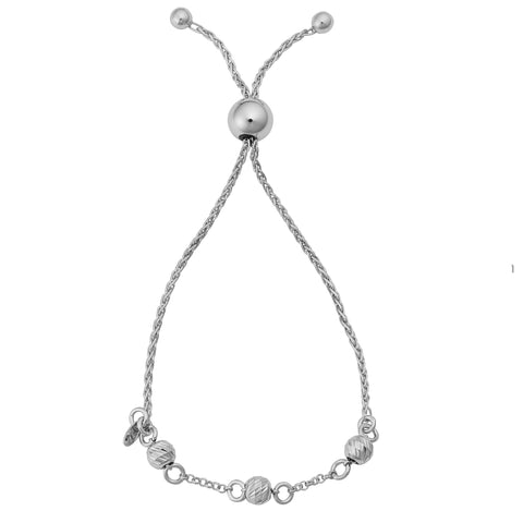 Rhodium Plated Sterling Silver Diamond Cut Beads Adjustable Bracelet, 9""