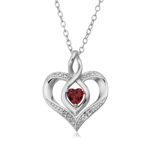Sterling Silver Heart Shape Gemstone Birthstone Necklace, 18""