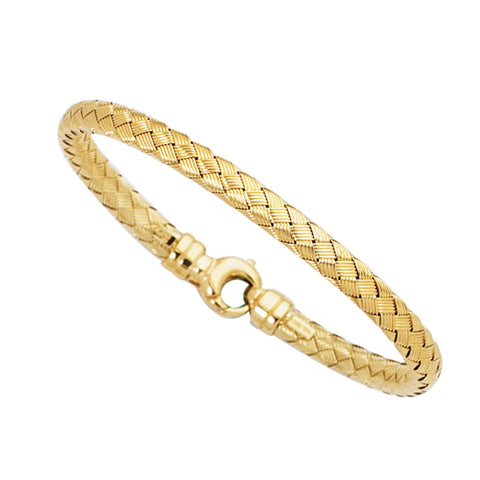 14k Yellow Gold Weaved Women's Bangle Bracelet, 7.25""