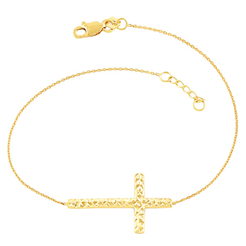 14k Yellow Gold Diamond Cut Cross Adjustable Bracelet, 7.5