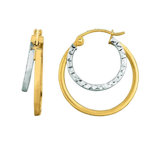 14K Yellow And White Gold Double Row Hoop Earrings, Diameter 20mm