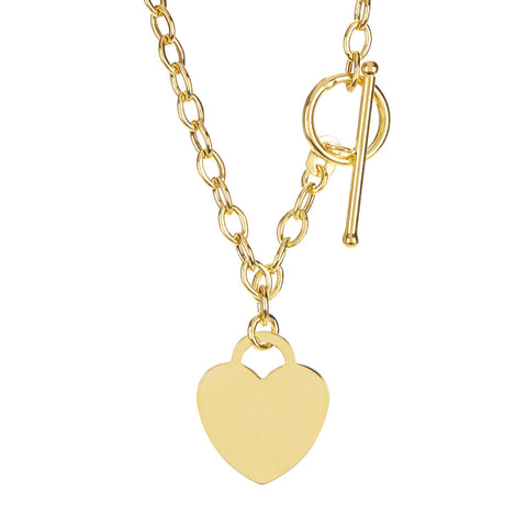 14k Yellow Gold Chain Oval Link Heart Necklace, 17""