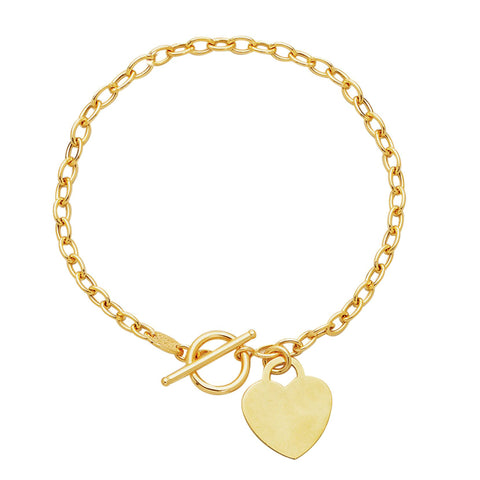 14k Yellow Gold Chain Oval Link Heart Bracelet, 7.50""