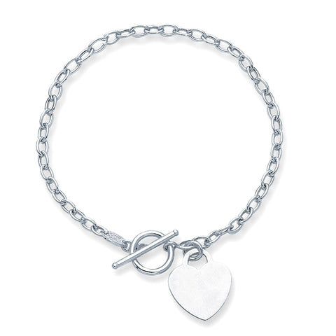 14k White Gold Chain Oval Link Heart Bracelet, 7.50""