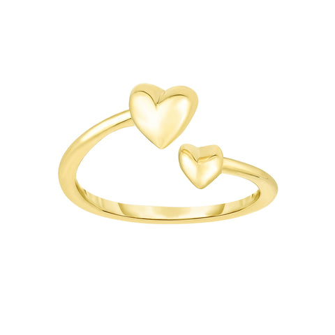 14K Yellow Gold Hearts Bypass Toe Ring 9mm