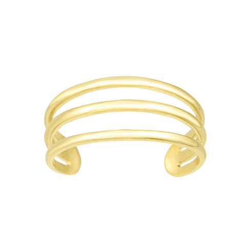14K Yellow Gold Triple Bar Adjustable Toe Ring 6.5mm