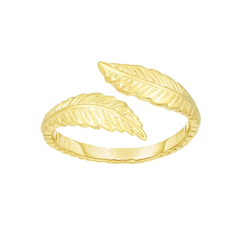 14K Yellow Gold Leaf Adjustable Toe Ring 9mm
