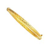 14k Yellow Twisted Gold Women's Bangle Bracelet, 7""