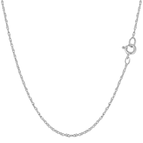 14k White Gold  Rope Chain Necklace, 0.9mm