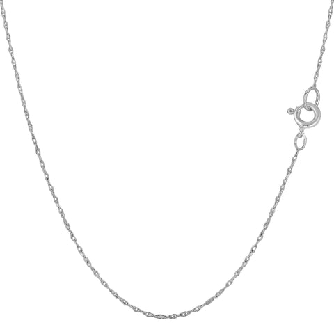 14k White Gold Rope Chain Necklace, 0.5mm