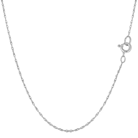 14k White Gold  Rope Chain Necklace, 0.6mm