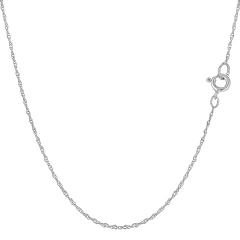 14k White Gold  Rope Chain Necklace, 0.7mm - JewelryAffairs  - 1